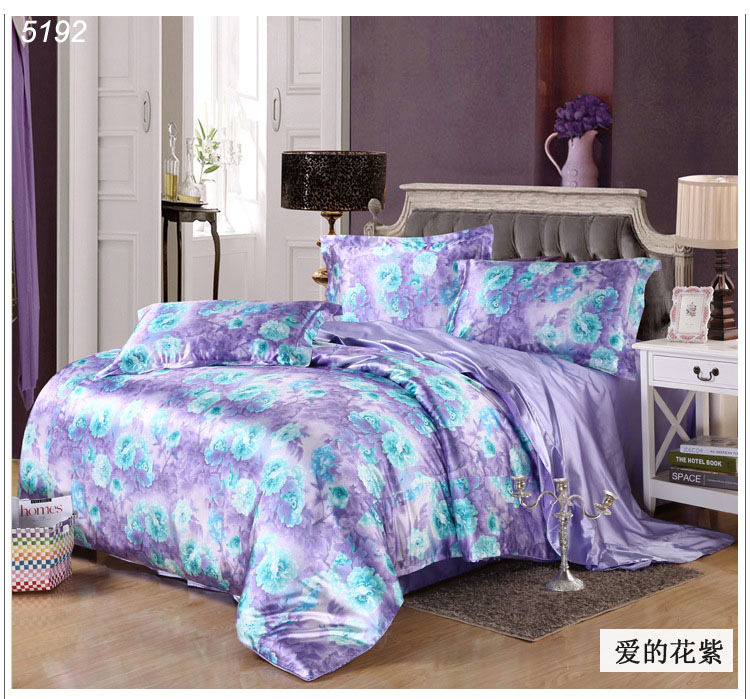 Lover Flower Silk Bedding Set Purple Tencel Bed Sets