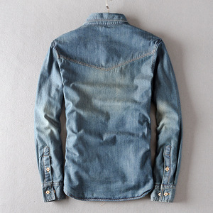 Image 3 - 新しい冬厚いデニムシャツ長袖暖かいジーンズシャツソフト快適なスリムフィットターンダウン襟冬服