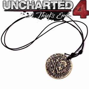 dongsheng PS4 Uncharted 4 A Thief's End Metal Pendant Necklace Limited Collection Pirate Skull Gold Coin Metal Keychain-30(China)
