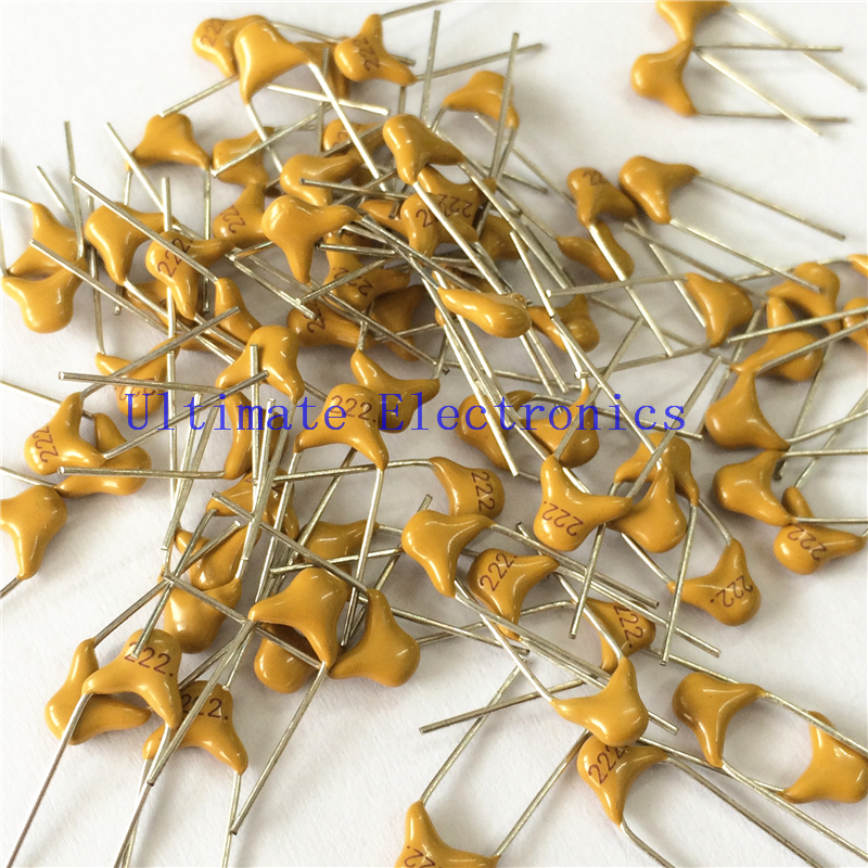 100pcs/lot  Multilayer Ceramic Capacitor 222 50V 2.2nF 222M P=5.08mm