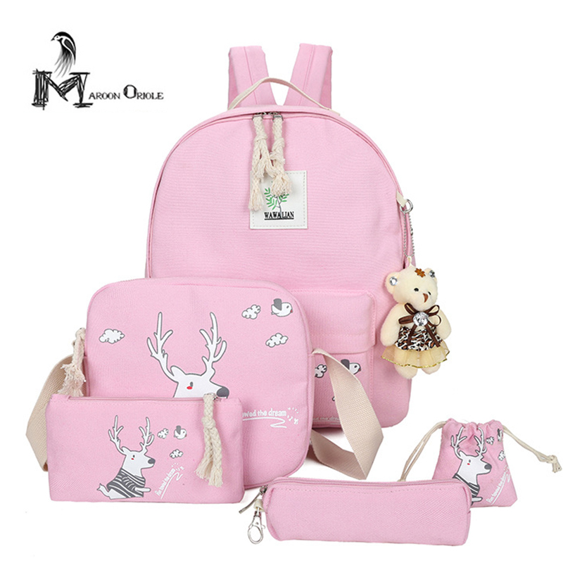 5 in 1 pink canvas backpack sets for kids girls school bag set children travel backpack