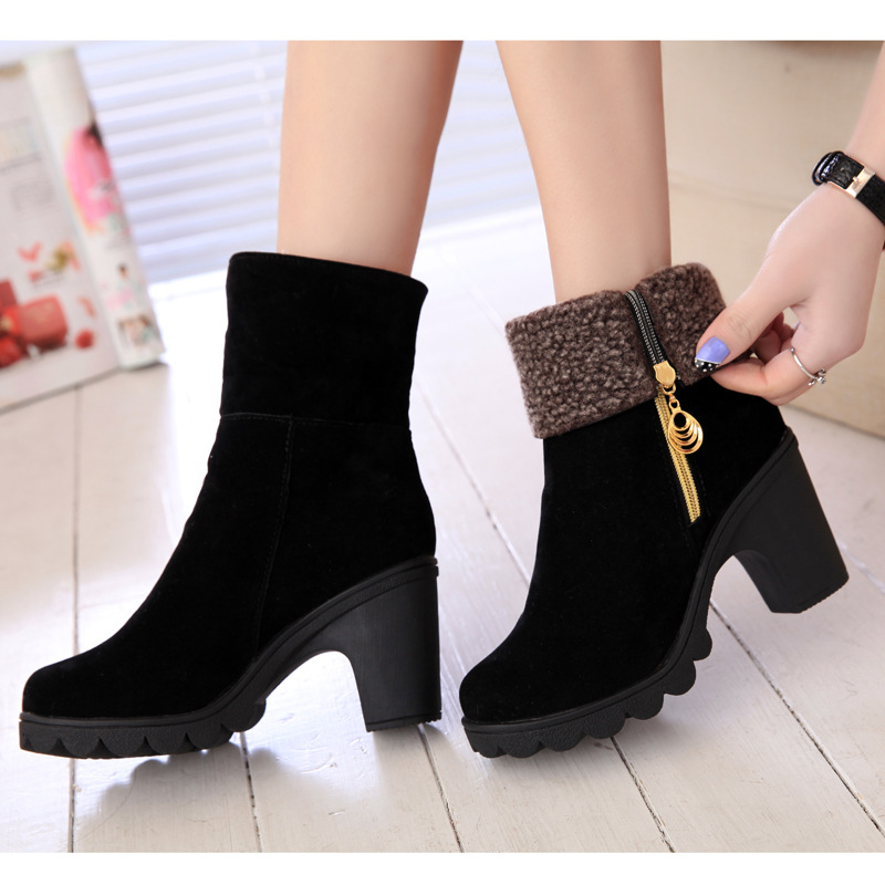 Hot Women Boots Winter Warm High Heels Boots For Women Fur ...