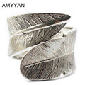 Antique Silver Plated Twist Net Cuff Bangle Top Quality Vintage Women's Feather Cuff Bracelet Alloy Metal Bangle Bracelet