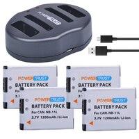 PowerTrust NB 11L NB 11L 4Pcs 1200mAh NB11L Camera Battery Dual USB Charger For Canon IXUS