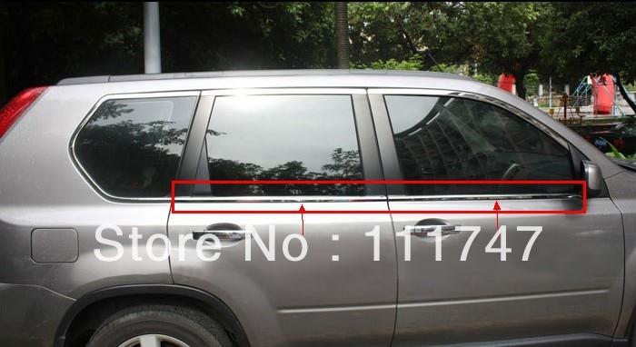 Stainless steel Bottom Under window frame sill trim 4pcs for Nissan X-trail X trail 2008 2009 2010 2011 2012 2013 for nissan qashqai 2008 2009 2010 2011 2012 2013 car inner decoration trim
