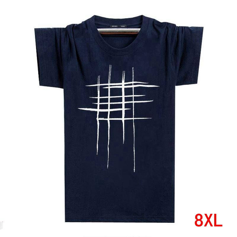 Men's Summer 5XL Casual T-Shirt Cotton Large Size Large Size 6XL 7XL 8XL Short Sleeve T-Shirt Geometric Hipster Creative