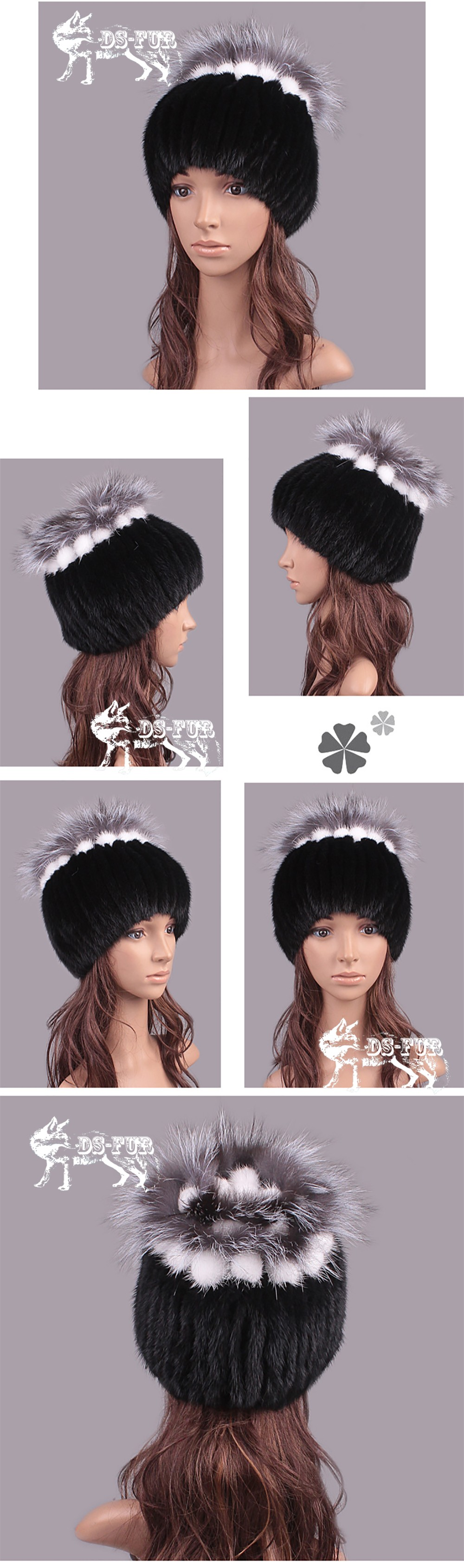 Genuine Mink fur knitting hat silver fox hair bulb02