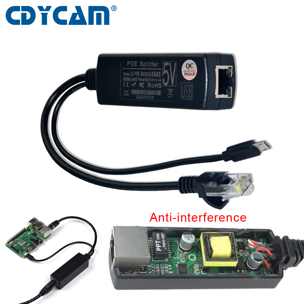 US $6 21 29% OFF|Cdycam Anti interference Active PoE Splitter Power Over  Ethernet 48V to 5V 2 4A IEEE 802 3af Micro USB Raspberry Pi for Camera-in