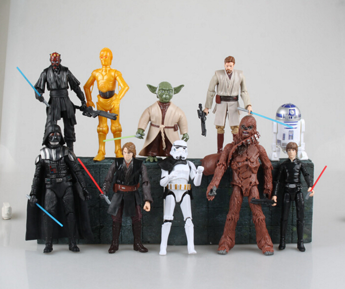 Star Wars Action Figur Darth Vader Stormtrooper Darth Maul Yoda Skywalker Leksaker PVC Anime Star Wars Figurleksaker 8-19cm 10st / set