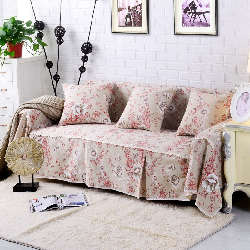 Pastoral Style Flower Printed Sofa Cover Cotton Linen Sectional Sofa  Slipcover L Shape Couch Cover Universal Furniture Protector-in Sofa Cover  From Home