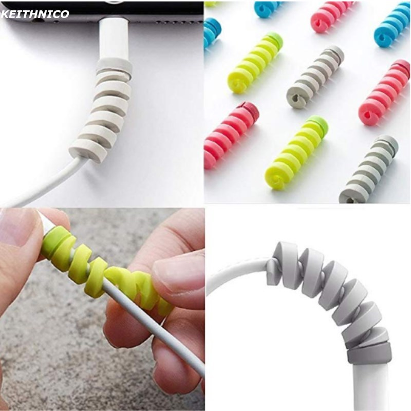 20Pcs Colorful Flexible Spiral Tube Cable Winder Protector Wire Cord Organizer Protetor for Apple Watch iPhone Charging Cable ugreen cable holder organizer 25mm diameter flexible spiral tube cable organizer wire management cord protector cable winder