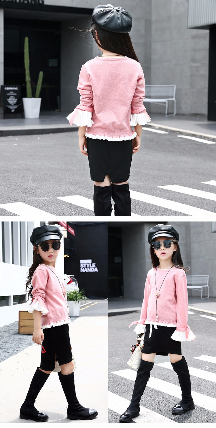 knitting little teenage girls clothes suits autumn 2016 children clothing set for girl pink blue knit sweater tops long sleeve black skirts clothes set 2016 6 7 8 9 10 11 12 13 14 15 16 years old big girl 2 pcs clothing sets (5)