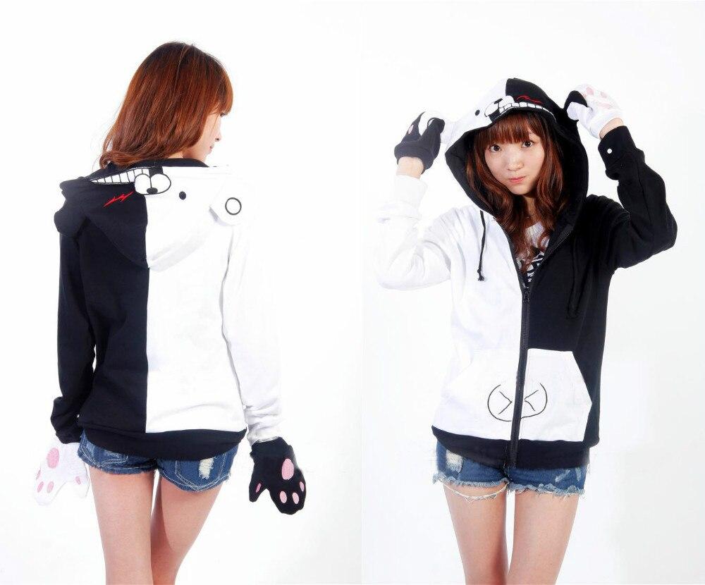 Danganronpa Monokuma Cosplay Costume Women Men Black And White Bear Jacket Sweatshirt Zip Hoodies With Gloves