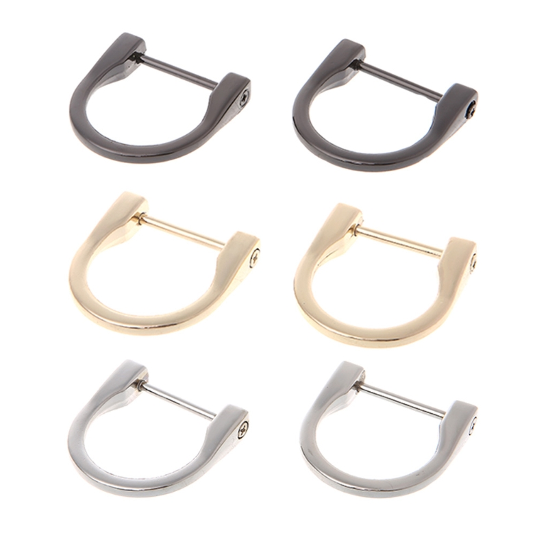2Pcs 2.5cm Metal D Ring Buckle Detachable Openable Removable Handbag Purse Strap DIY Ring Buckle