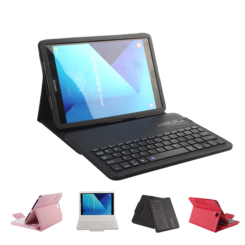 Bluetooth Keyboard Case for Samsung Galaxy Tab S3 9.7 Flip Luxury PU Leather Smart Case for Samsung T820 T825 Tablet Cover Stand