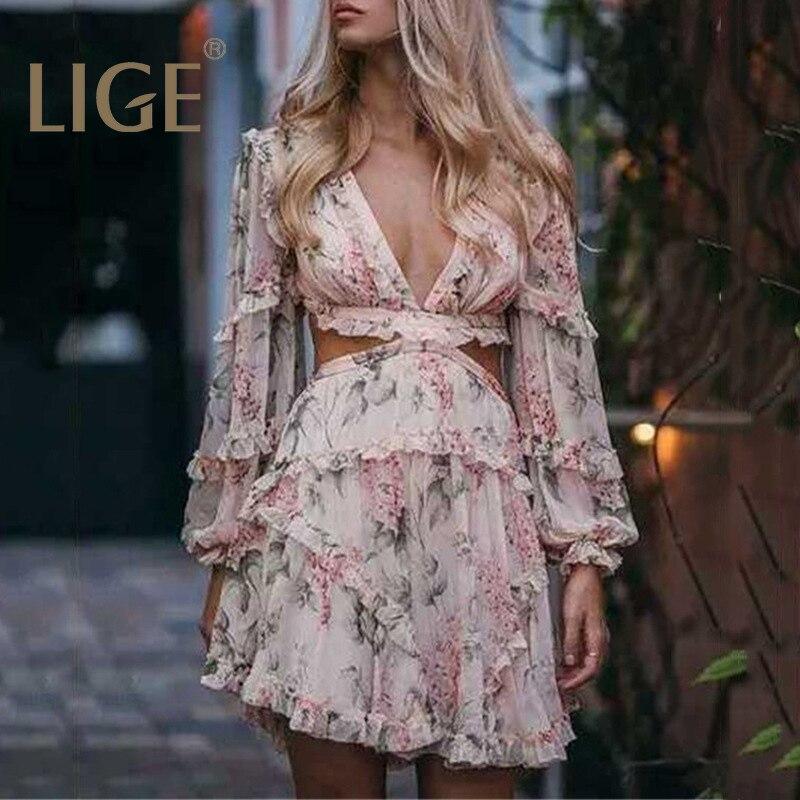 2019 été Sexy Criss dos croisé femmes robe fleur imprimé Vocation et plage robe profonde V marque de luxe manches longues Mini-robe