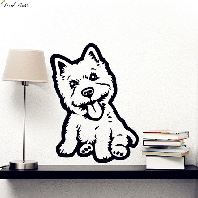 Gratis pengiriman westie dog decal vinyl sticker decal hewan puppy hewan wall art pet shop