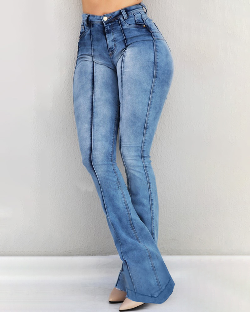 2019 Women High Waist Flare Jeans Skinny Denim Pants Sexy Push Up Trousers Stretch Blue Bell Bottom Jean Female Casual Jeans