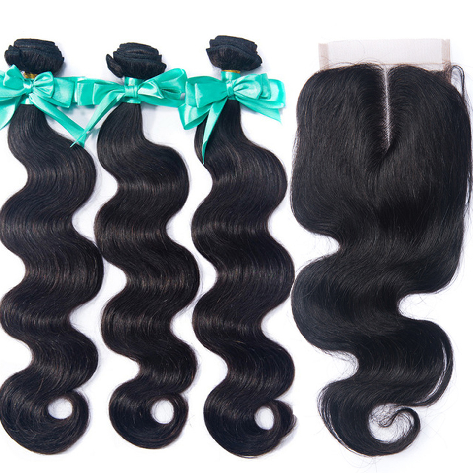 3 Bundles Peruvian Body Wave With Lace Closure Double Weft Remy Human Hair Bundles With Closure