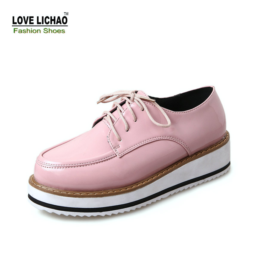 lichao 2017 new pink flat platform casual