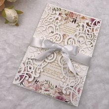 Free Shipping 250g Quality pearl paper laser cut wedding invitations invites with envelope insert ribbon недорого