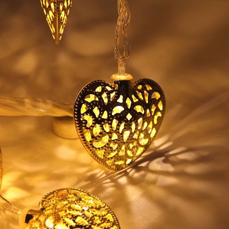 Goud Zilver Metaal Hartvorm Werkt op Batterijen 10 LED - Vakantie verlichting - Foto 2