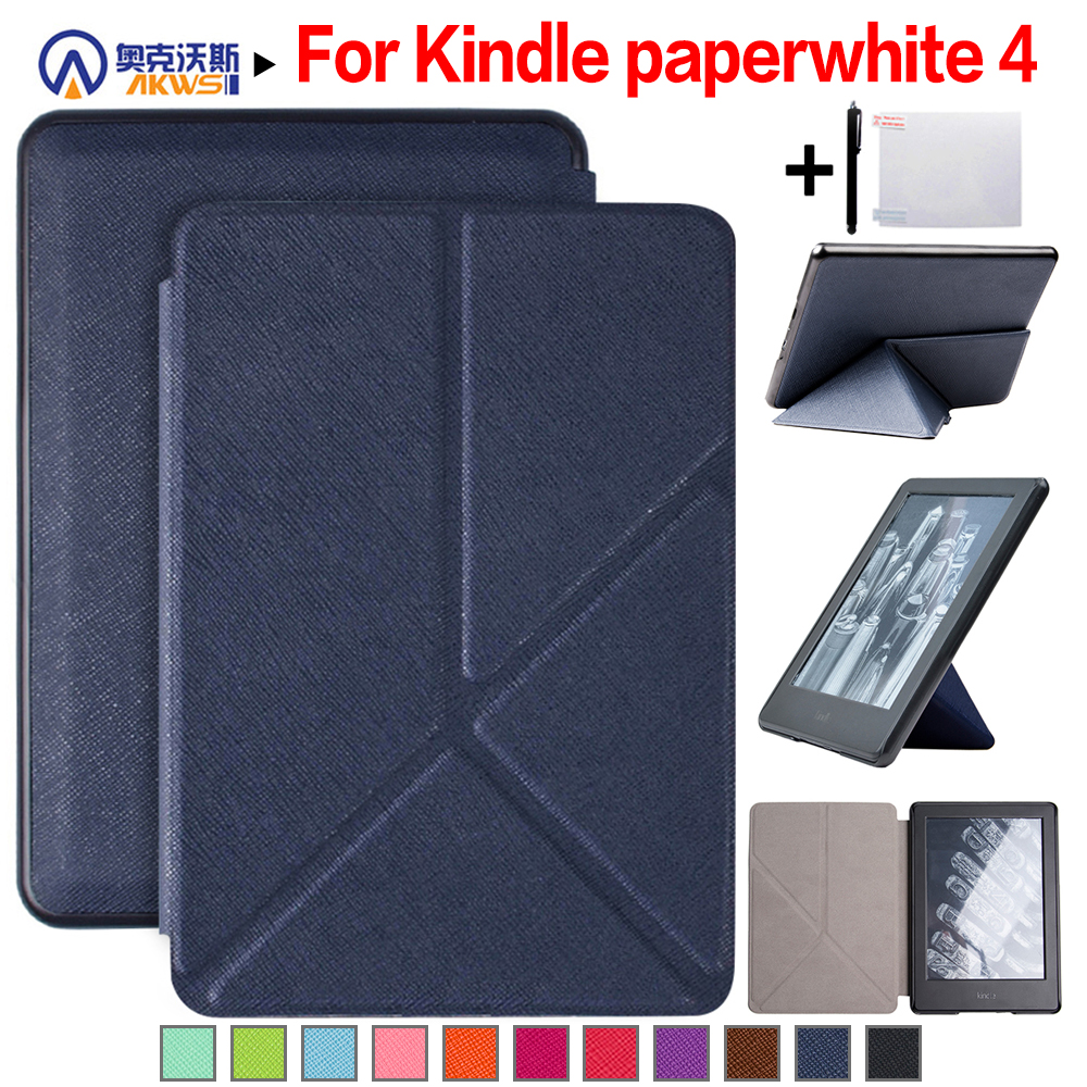 67e103b8ee US $6.99 30% OFF|Walkers Origami Stand Magnetic PU Leather Cover Case for  Amazon Kindle Paperwhite 4(2018 New Model) + Stylus + Film-in Tablets & ...
