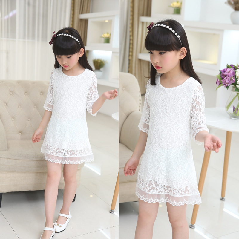 tjejer klänning 2019 ny sommar spets barn vitt stor storlek rund - Barnkläder - Foto 2