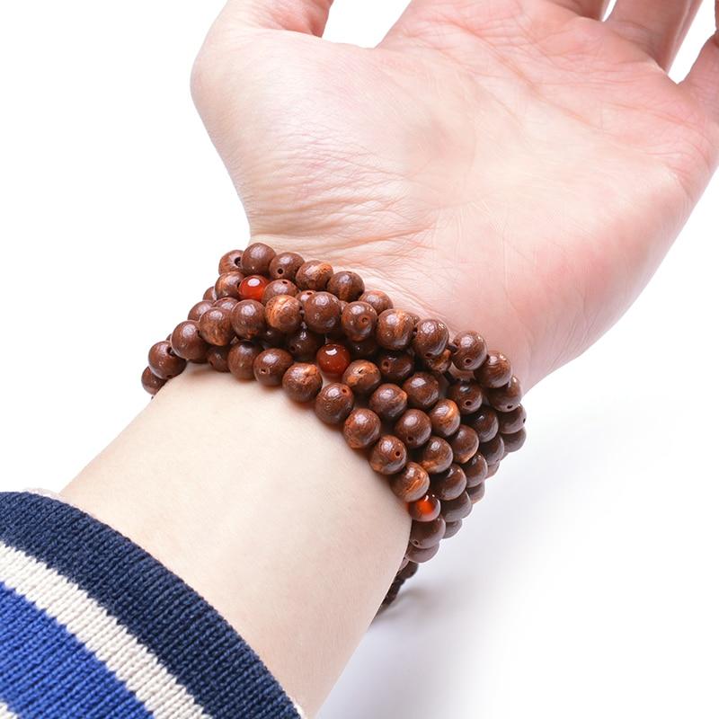 Biji Bodhi Semula Jadi 108 Manik-manik Gelang Mala Yoga Kalung Tibet - Perhiasan fesyen - Foto 4