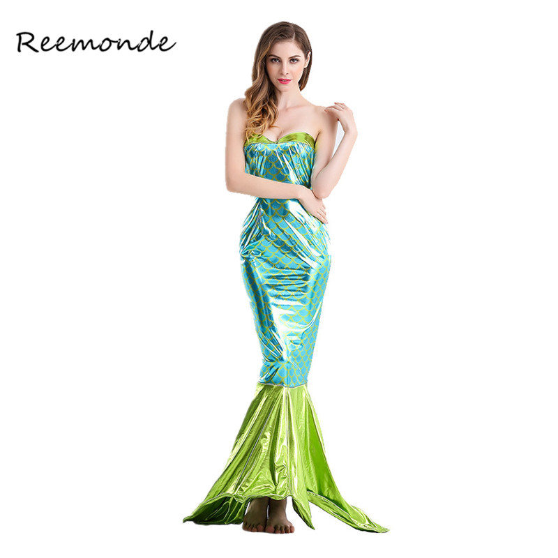 Adult Sexy Mermaid Tail Long Dress Cosplay  Costume For Woman Halloween Princess Skirt Dresses Party Beach Swimsuit Costumes