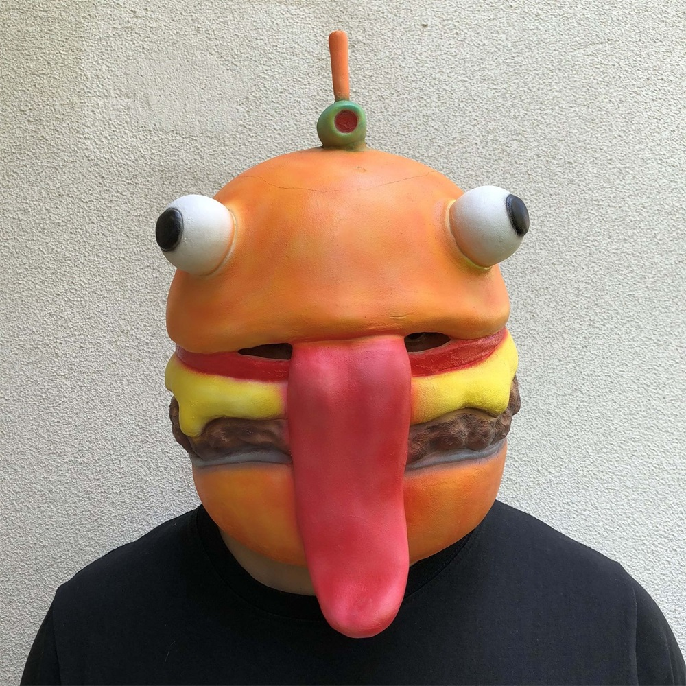 Game Adult Beef Boss Latex Mask Helmet Halloween Cosplay Costumes Full Face Hamburger Human Masks Props