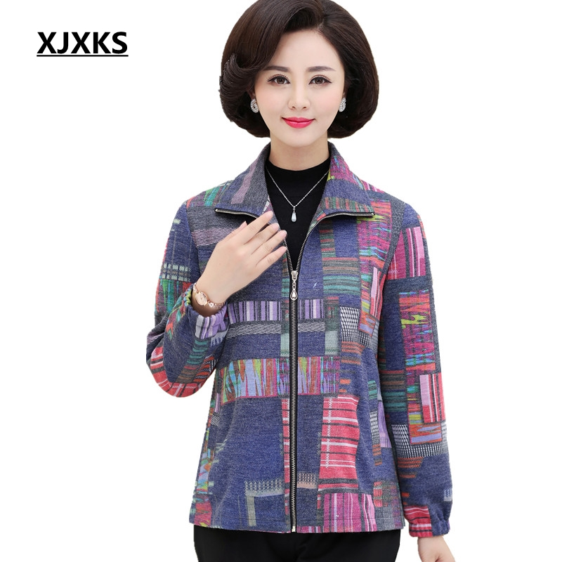 XJXKS   Basic     Jacket   Coat Color Stitching Women   Jacket   Zipper Colorful Outerwear Autumn Casual Streetwear   Jackets   With Pocket