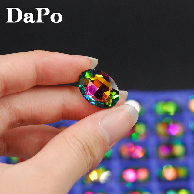 4x6mm~20x30mm Rainbow Color Oval Glass Crystal Fancy Point back Stone For  Jewelry Making de01442e9605