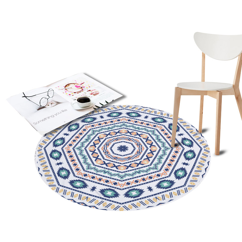 Anti-Slip Round Area Rugs for Living Room Doormat Geometry Printed Carpet Door Floor Mats for Bedroom Kids Play Crawl Chair Mat