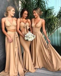 Image 2 - סקסי שושבינה שמלות 2020 שרוולים V מחשוף ללא משענת סאטן העבאיה gece שמפניה שמלה למסיבת חתונה
