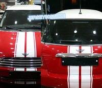 DIY (150cm+110cm)x16cm Hood Stripes Car Decal Sticker Fit for Mini BMW Benz Ford etc
