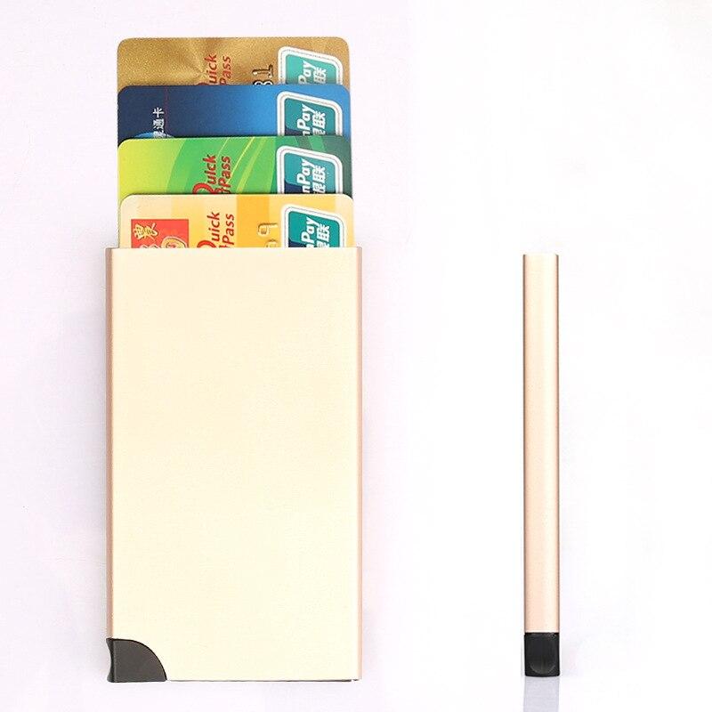 Business RFID Blocking Travel Card Wallet Automatic Pop up Click Slide Card Holder Bank Kart Case Aluminum alloy Card Case