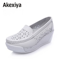 Akexiya Breathable Comfortable Women S Flats 2017 New Arrival Split Leather Shoes Women Summer Spring Hollow