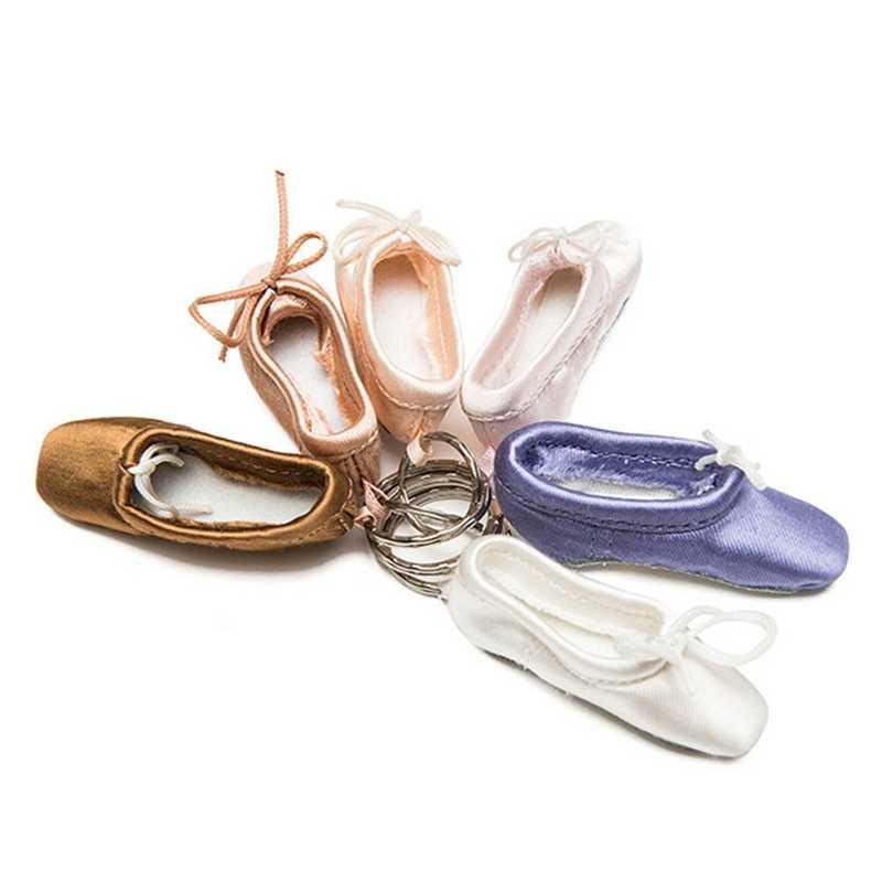 1pc ballet foottip sapatos pointe chaveiro mini sapato ballet chaveiro cetim pointe titular chave sapatos de dança ballet saco charme corrente
