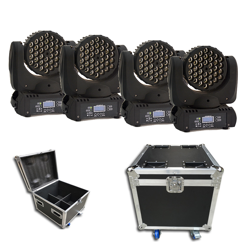 Hot Sell 4pcs/lot Flight Case Packing RGBW 4 In1 Color Mixing Cree Led 36*3W Led Moving Head Wash Led Lights