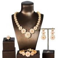 dubai gold jewelry sets for women flower new luxury cubic zirconia jewelry sets four pieces