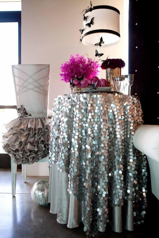 uu ronda mm plata grande mantel de lentejuelas para eventos del banquete de