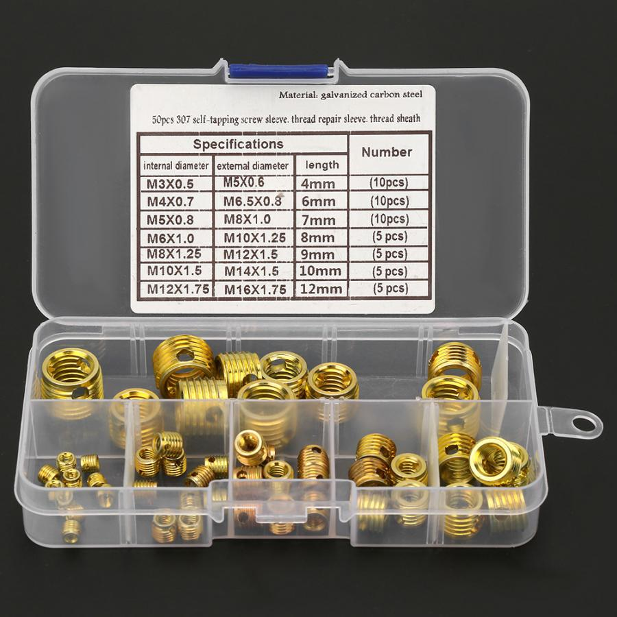 50Pcs High Strength Screw Sleeve Thread Repair Insert Kit Tool Set Brass insert for hardware repair tools in Nuts from Home Improvement