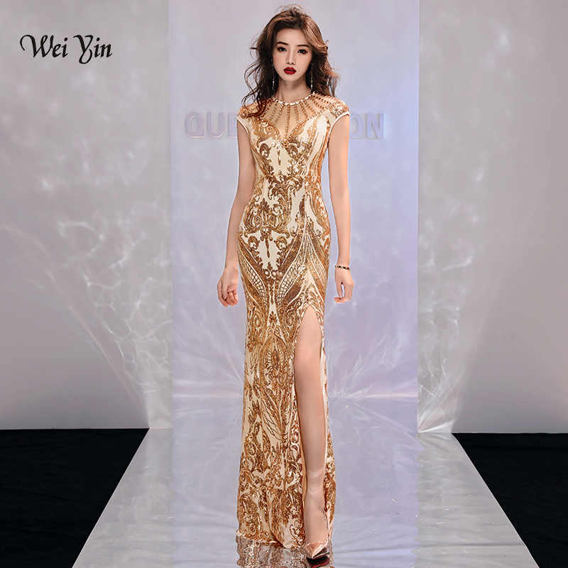 34000969cce weiyin Gold Muslim Evening Dresses 2019 Mermaid Sleeveless Sequined Slit  Islamic Dubai Kaftan Saudi Arabic Long