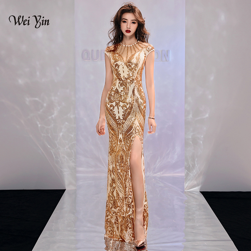 weiyin Gold Muslim   Evening     Dresses   2019 Mermaid Sleeveless Sequined Slit Islamic Dubai Kaftan Saudi Arabic Long   Evening   Gown