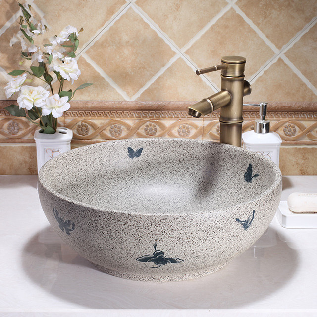 round western antique chinese ceramic colored bathroom basin hand wash bowls lavabo sink bathroom sink chinese
