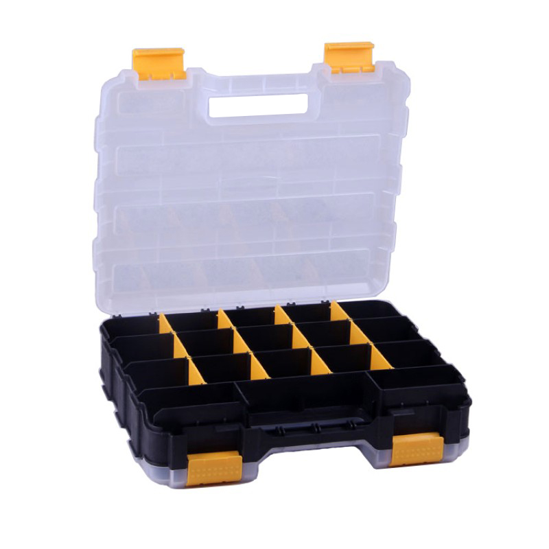 12 Inch Toolbox Double-sided Open Plastic Portable Parts Toolbox Classification Component Box 320x270x80mm