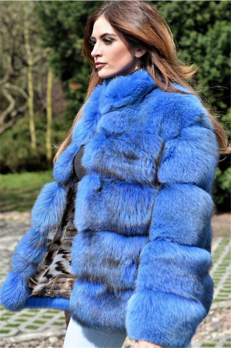 Vestes Col En Montant D'hiver Épais Mode Bleu Manteau De Réel Nouveau Naturel Chaud Fourrure Dames Pour Arrivent Renard qnwzAaRU