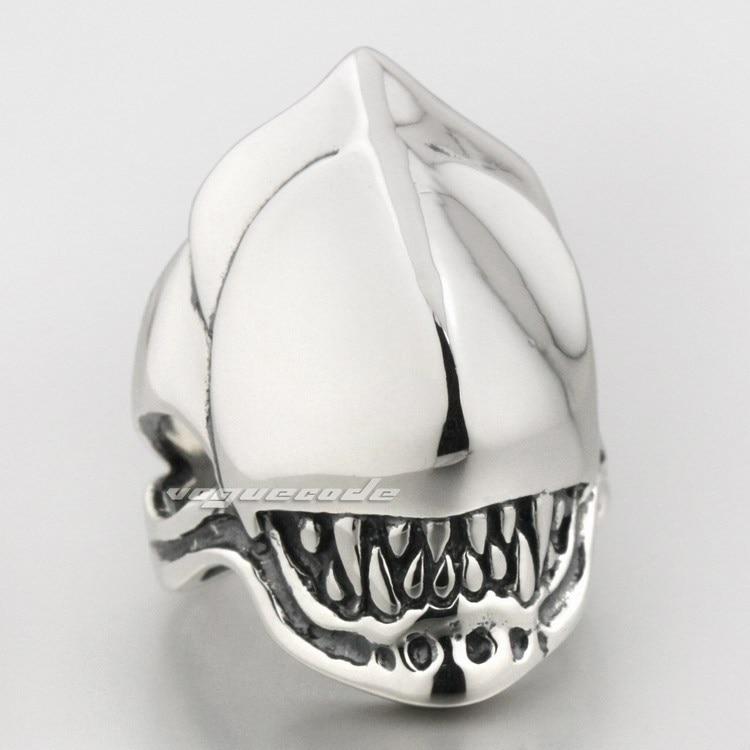 Alien Fang crâne 925 en argent Sterling hommes motard anneau 8S008