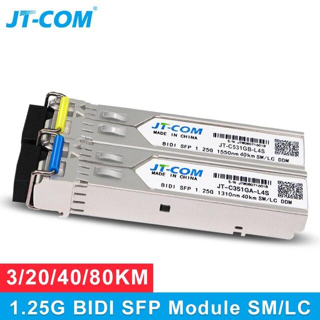 1 זוג 1G SM LC 3/20/40/80 KM Gigabit SFP מודול Bidy יחיד מצב סיבים אופטי ציוד משדר תואם עם סיסקו מתג